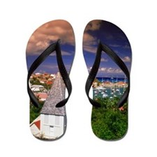 View of Gustavia and harbor on St. Bart Flip Flops