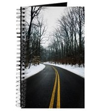 Winter scene of trees along a two lane roa Journal