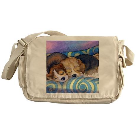 Beagle puppies asleep on the sofa Messenger Bag
