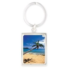Bent palm tree and footprints on Portrait Keychain