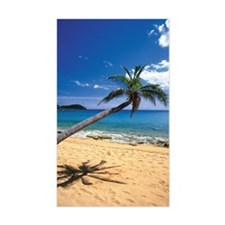 Bent palm tree and footprints  Decal