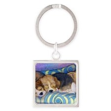 Beagle puppies asleep on the sofa Square Keychain