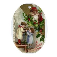 Vintage Christmas Santa Claus Oval Ornament