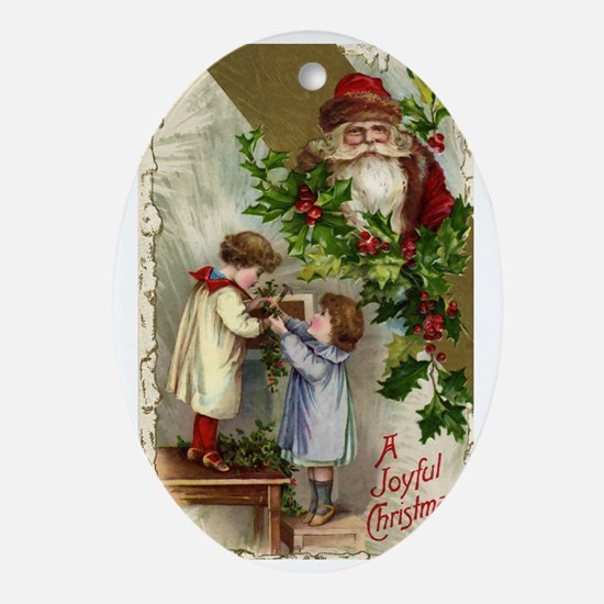 Vintage Christmas Santa Claus Oval Ornament