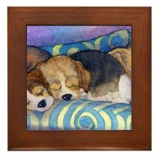 Beagle puppies asleep on the sofa Framed Tile