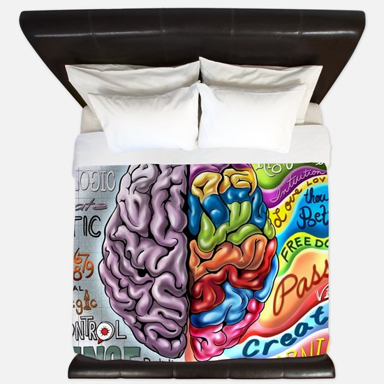 Left Brain Right Brain Cartoon Poster King Duvet