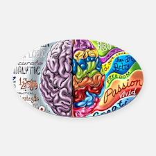 Left Brain Right Brain Cartoon Pos Oval Car Magnet