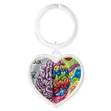 Left Brain Right Brain Cartoon Post Heart Keychain