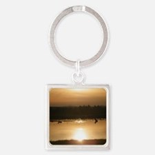 Sunset over pond Square Keychain