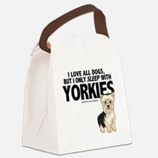 I Sleep with Yorkies Canvas Lunch Bag