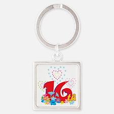 BirAnnNumbersA26 Square Keychain