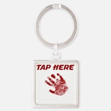 Tap Here Square Keychain