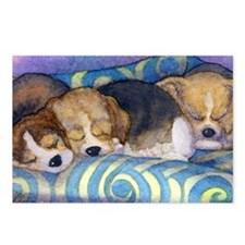 Beagle puppies asleep on  Postcards (Package of 8)