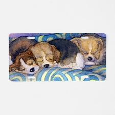 Beagle puppies asleep on th Aluminum License Plate