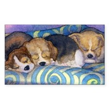 Beagle puppies asleep on the s Decal