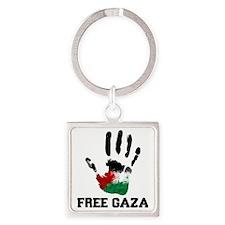 Free Gaza Square Keychain