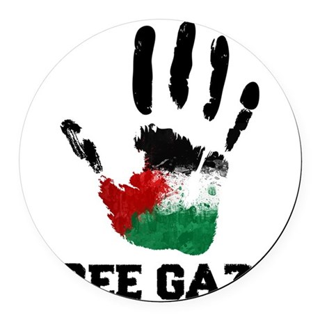 Free Gaza Round Car Magnet