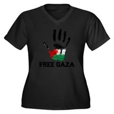Free Gaza Women's Plus Size Dark V-Neck T-Shirt