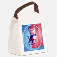 Circle 4th Of July American Kitty Canvas Lunch Bag