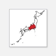 "Flag Map of Japan Square Sticker 3"" x 3"""