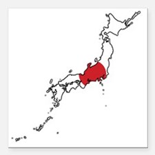 "Flag Map of Japan Square Car Magnet 3"" x 3"""