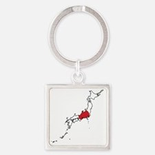 Flag Map of Japan Square Keychain