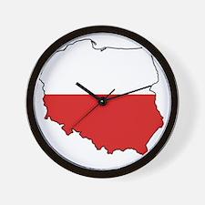 Flag Map of Poland Wall Clock