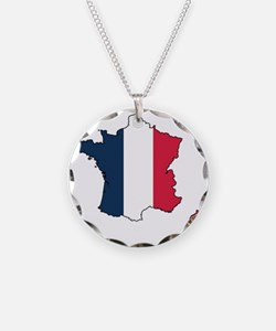Flag Map of France Necklace