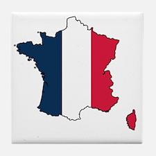 Flag Map of France Tile Coaster