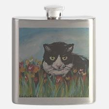 Tuxedo cat tulips Flask