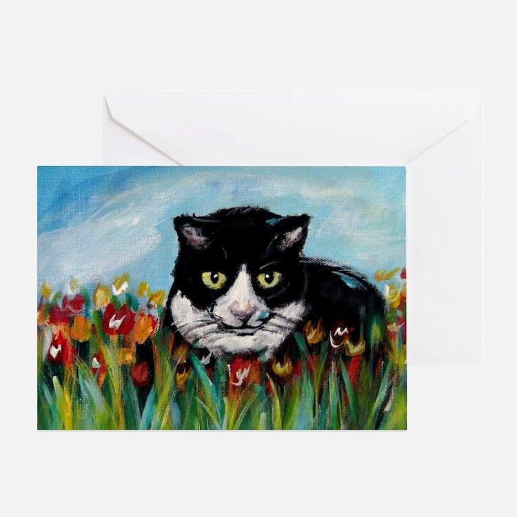 Tuxedo cat tulips Greeting Card