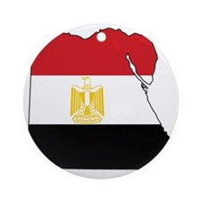Flag Map of Egypt Round Ornament