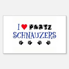 I Love Parti Schnauzers 1.0 Rectangle Decal