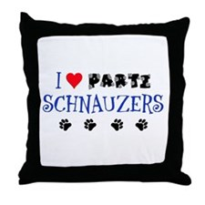 I Love Parti Schnauzers 1.0 Throw Pillow