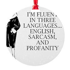 Three Languages Round Ornament
