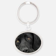 Beautiful Black Labrador Oval Keychain