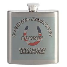 Horses Against Romney Button Flask