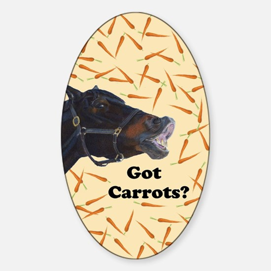 Cute Got Carrots? Horse Sticker (Oval)