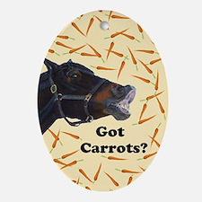 Cute Got Carrots? Horse Oval Ornament