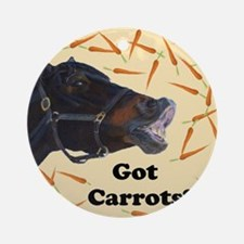 Cute Got Carrots? Horse Round Ornament