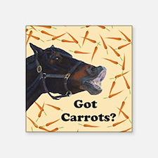 """Cute Got Carrots? Horse Square Sticker 3"""" x 3"""""""