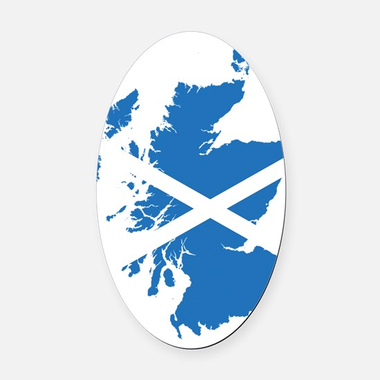 Flag Map of Scotland Oval Car Magnet