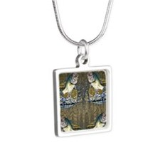 largemouth bass Silver Square Necklace