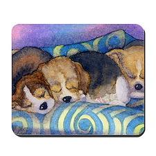 Beagle puppies asleep on the sofa Mousepad