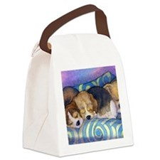 Beagle puppies asleep on the sofa Canvas Lunch Bag for