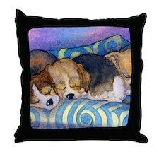 Beagle puppies asleep on the sofa Throw Pillow