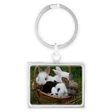 Basket full of Bunnies Landscape Keychain