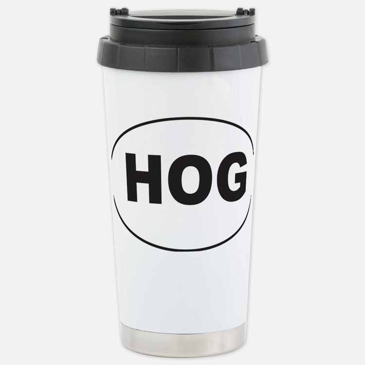 Black HOG Sticker Stainless Steel Travel Mug