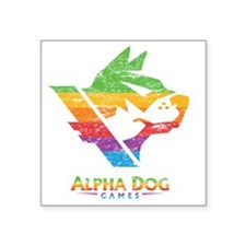 "Alpha Dog Distressed Color  Square Sticker 3"" x 3"""