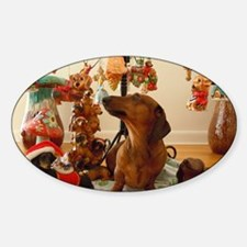 Christmas Dachshund (Ver.2) Balloon Sticker (Oval)